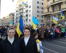 Manifestaçao com os ucranianos